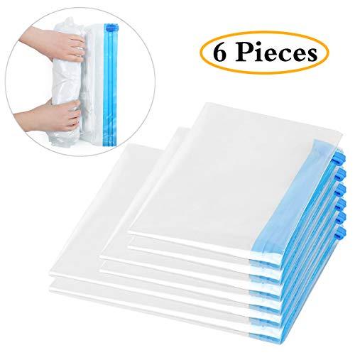 Infreecs 6 TLG Set Vakuumbeutel Aufbewahrungsbeutel für Kleider Bettdecken Bettwäsche Kissen, wiederverwendbar und robust, 3 Verschiedene Beutelgrößen