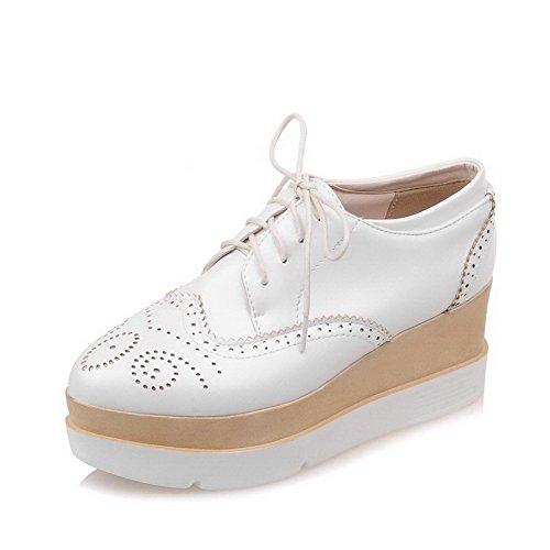 VogueZone009 Femme Matière Souple Lacet Rond à Talon Correct Couleur Unie Chaussures Légeres Blanc