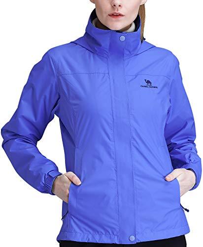 CAMEL CROWN Regenjacken Damen Wanderjacke Skijacken wasserdicht Outdoor Herbstjacke Full Zip mit Fleece-Futter mit Winddicht, Wasserdicht Für Outdoor Camping Bergsteigen Ski
