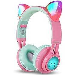 Riwbox CT-7 - Auriculares Bluetooth inalámbricos Plegables con micrófono y Control de Volumen para iPhone/iPad/Smartphones/portátil/PC/TV Rosa&Verde