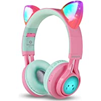 Bluetooth Headphones, Riwbox CT-7 Cat Ear LED Light Up Wireless Foldable Headphones Over Ear with Microphone and Volume Control for iPhone/iPad/Smartphones/Laptop/PC/TV (Pink&Green)