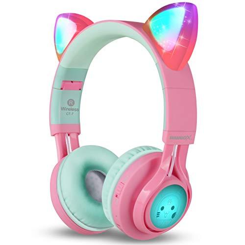 Riwbox - Casque BluetoothCT-7 oreille de chat - sans fil et pliable - avec microphone et contrôle du volume - pour iPhone/iPad/smartphone/ordinateur portable/PC/TV Pink&Green