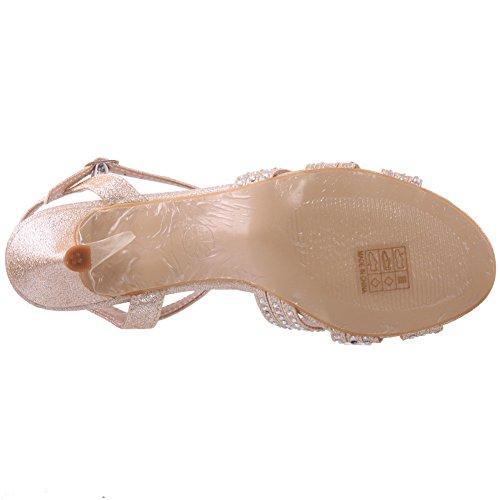 Unze Womens  Jina  sandali da sposa abbelliti Champaign