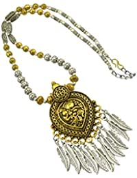 High Trendz Oxidised Gold Silver Dual Tone German Silver Gypsy Style Statement Pendant Necklace Jewellery For...