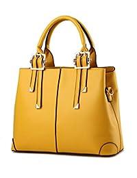 Luckywe Mujer carteras bolsos cuero Satchel diseñador Simple con estilo clásico bolsa