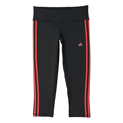adidas Damen Oberbekleidung Basic 3 Stripes 3/4 Tights Women Hose, Black/Shock Red S16, XS (Frauen Sweat Anzüge Adidas)