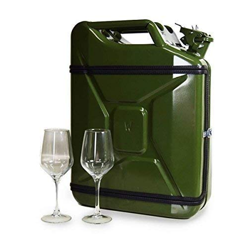 Pfiffig-Wohnen JerryCan Weinbar Weinkoffer, transportfähig, Grün, inkl. 2 Weingläser, 45 x 35 x 18 cm