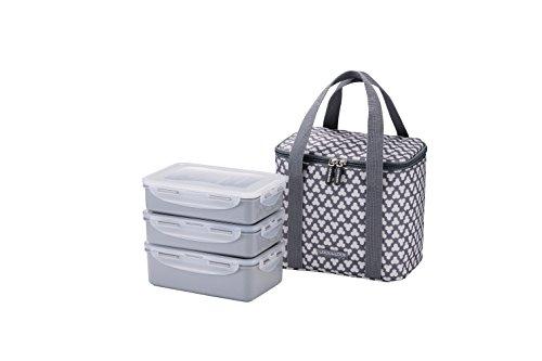 LOCK & LOCK Picknick Box Set mit Transport-Tasche in Grau - 2er Lunchbox unterteilt &  auslaufsicher - Vesperdosen stapelbar, 2 Picknickboxen á 1 l