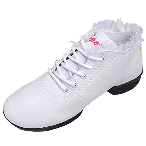 Oasap Women's Fashion Ruffle Trim Soft Sole Dance Shoes White&black
