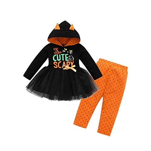 Brettspiel Teilig Kostüm - HS-ZM-06 Babykleinkindkindmädchen-Kleidungsklage Halloween-Weihnachtskostüm Niedliches Beängstigendes Katzenschwarzes 2-Teiliges Fleckenkleid + Orange Hosen,100cm