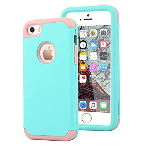 Dailylux iphone 5s Case,iphone 5 Case,iphone SE Case,PC+Silicone Three Layers Full-Body Protection Case Hard Back Cover for iphone 5/5s/SE-Wint Green+Rose