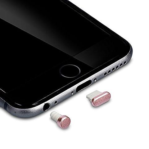 kwmobile 2x bouchons de protection anti-poussière pour Apple iPhone 6 / 6 Plus en or rose