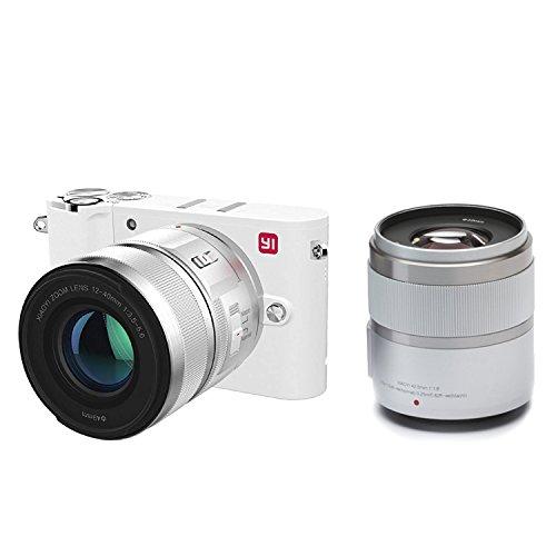 YI 4K Fotocamera Digitale Mirrorless Micro Quattro Terzi 4K Fotocamera MFT 20 Megapixel 2 Obiettivi Intercambiabili 12-40mm & 42.5 mm (Colore Bianco - Kit 2 Lenti)