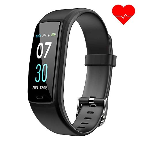 d mit Pulsmesser,Wasserdicht Blutdruckmesser Fitness Tracker Aktivitätstracker Pulsuhren Schrittzähler,Uhr Smartwatch mit Schlafmonitor für iOS Android Handy(Schwarz) ()