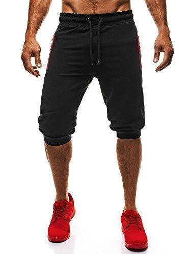 OZONEE Uomo Jogging Tempo libero Shorts Pantaloncini sport Al ginocchio Pantaloncini Corti Bermuda ATHLETIC 710 - nero rosso, M