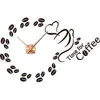 Wandtattoo Uhr Wanduhr für die Küche Spruch Time for Coffee Kaffee Kaffeezeit (Uhrwerk kupfer//080 braun)