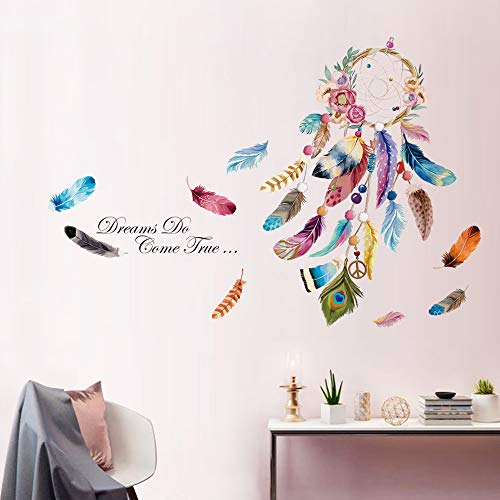 decalmile Pegatinas de Pared Atrapasueños Vistoso Pluma Flor Frases Vinilos Dream Do Come True Adhesivos Pared Decorativos para Salon Dormitorio