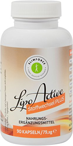 Slimforce LipoActive - Stoffwechsel PLUS - Grüner Tee, Apfelessig, Guarana, Pfeffer- & Chili-Extrakt, Zink - 90 Kapseln – Abnehmen für Frauen und Männer