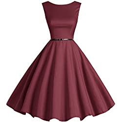bbonlinedress 50s Retro Schwingen Vintage Rockabilly Kleid Faltenrock Burgundy 3XL
