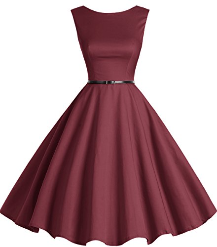 bbonlinedress 50s Retro Schwingen Vintage Rockabilly Kleid Faltenrock Burgundy XS
