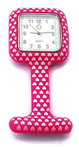 QBD Nurses Fashion Coloured Patterned Silicon Rubber Fob Watches - SQUARE Red Hearts