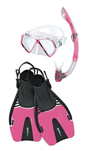Mares Coral Pirate Junior Mask, Snorkel & Fin Set Complete In A Bag. Colour & Size Choice. (Pink, ML - EU 28/31 UK