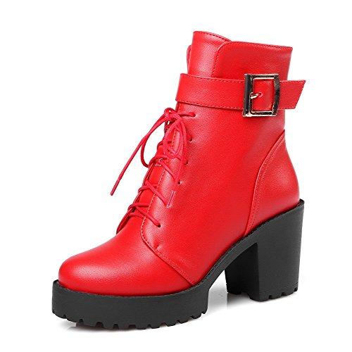 AllhqFashion Damen Schnüren Rund Zehe Hoher Absatz Niedrig-Spitze Stiefel mit Schnalle Rot