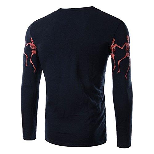 BOMOVO Herren mode gedruckt Langarm-T-Shirt Schwarz