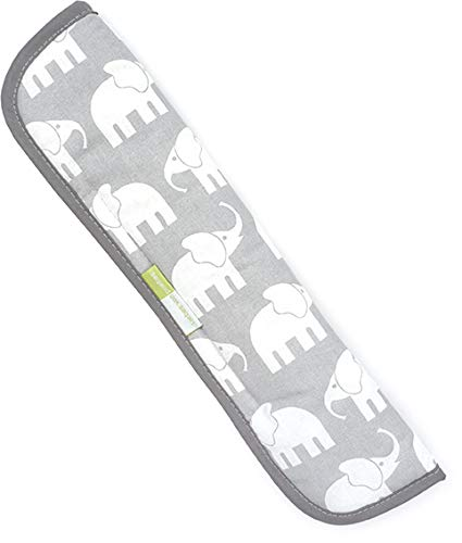 Priebes Sven Gurtpolster für Auto-Sicherheitsgurt/Gurtschoner für Fahrrad-Kindersitz & Fahrradanhänger/Länge 34cm / waschbar bei 30 Grad / 100% Baumwolle, Design:elefanten grau