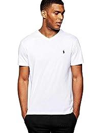 T'shirt ralph lauren blanc col V pony noir