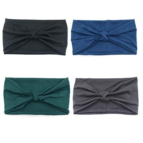 DRESHOW 4 Pack 1950 fasce del fiore d\'epoca per le donne torsione elastica turbante fascia capo Involucri svegli dei capelli fascia degli accessori
