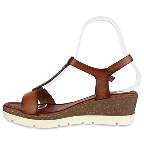 Damen Keilsandaletten Bast Sandaletten Weiße Profilsohle Wedges Dunkelbraun Camargo