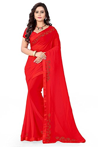 Sunshine Fashion Women's Georgette & Georgette Saree With Blouse Piece (Red, Red_FREESIZE)