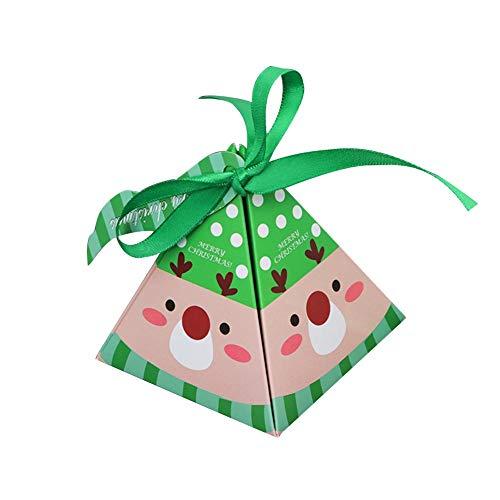 10 Stück Geschenkboxen set weihnachten,Pralinenschachtel Gastgeschenk Box,Weihnachtsmann Weihnachtsbaum Grüner Elch Geschenkschachtel für Kuchen, Kekse, Cupcakes aber auch Geschenke aller Art