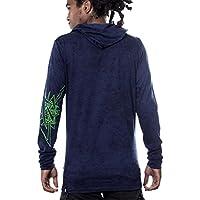 Felpa con cappuccio leggera da uomo – Pullover esclusiva stampa Neon – Abbigliamento Acid (Novità Mens Pullover)