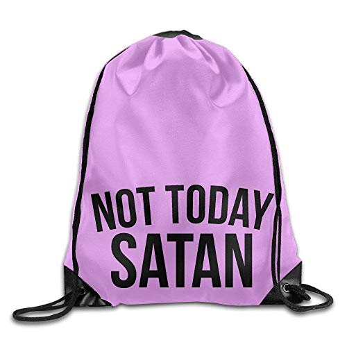 KAKICSA Not Today Satan Black Design Font Kids Sack Bag Canvas Bag Drawstring Bag Design