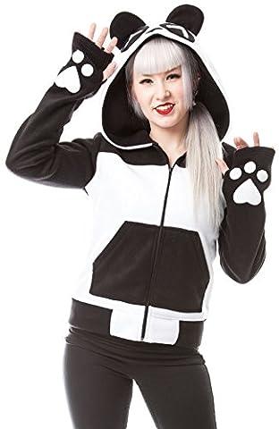 KP Split up panda ladies hoody with ears black/white - S - Killer Panda