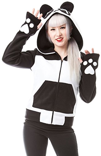 Felpa Hoodie Fleece Split Up Killer Panda (Nero/Bianco) - Large