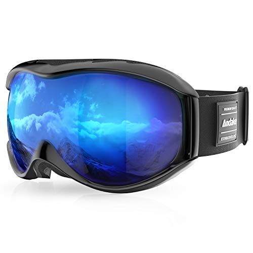 Andake Brillenträger | Anti-Fog Anti-Kratzen/Beschlag UV400-Schutz | verspiegelte sphärische Linse Schwarz Skibrille Goggle Snowboardbrille Herren Damen Erwachsener, Blau/VLT 11.1%