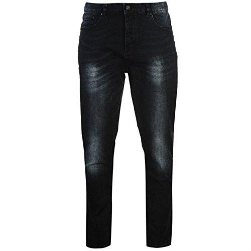 Soviet Herren Blue Black Jeans Straight Denim Hose Freizeit Jeanshose Dark Wash Blu/Blk Strght