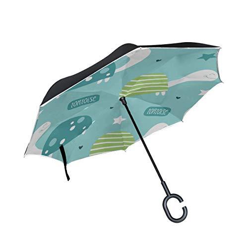Schildkröte Nette Lustige Tier Doppelschicht Falten Anti Uv Schutz Winddicht Regen Gerade Autos Golf Reverse Inverted Umbrella Stand Mit C förmigen Griff