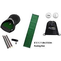 POSMA pg160d Golf Putter Formación Golf Trainer Kit Set de Regalo con Pieza Taza, 6ft x 1ft Alfombrilla de Putt, Desmontable 4-Section Putter, 2pcs Tour Pelota Cinch Saco Bolsa de Transporte