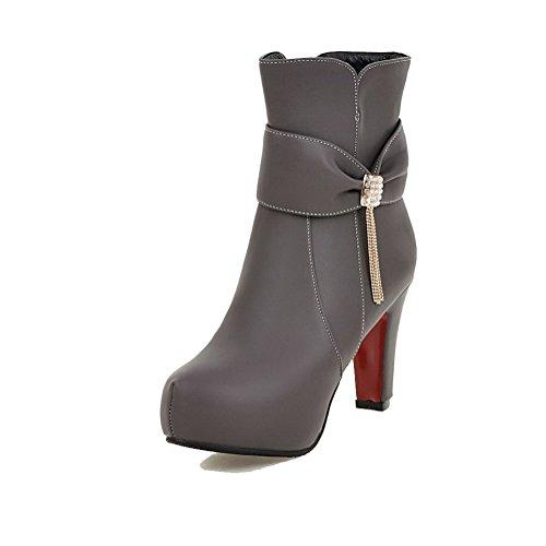 AgooLar Damen Eingelegt Hoher Absatz Rund Zehe Reißverschluss Stiefel mit Beschlagene Strass, Weiß, 37