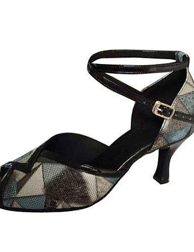 ShangYi Chaussures de danse(Noir) -Non Personnalisables-Talon Aiguille-Similicuir-Latine Black