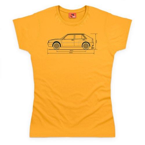 PistonHeads Delta Integrale Hatchback T-Shirt, Damen Gelb