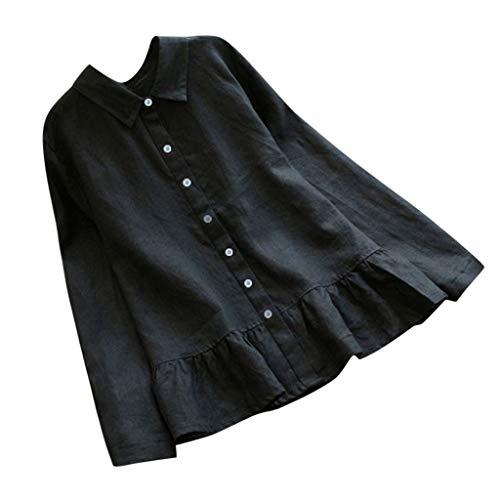 Ashui Damen Bluse Langarm Hemdbluse Baumwolle Leinen Hemd Einfarbig Business Hemd Herbst und Sommer Revers Kragen Frauen Lässige Solid Langarm Hemd Bluse Button Down Tops -