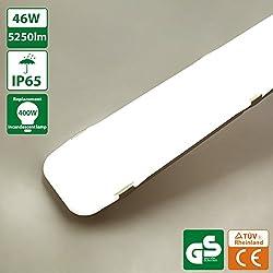 Oeegoo LED Feuchtraumleuchte 120cm, 46W 5250lm Deckenleuchte, IP65 Wasserfest Deckenlampe, Wannenleuchte, Garagenlampen, Bürodeckenleuchte, Werkstattlampen, Gartenleuchte 4000K