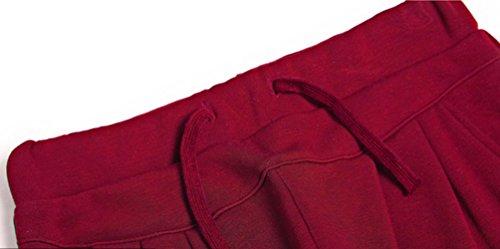 YAANCUN Donne in Alto Alla Vita Regolare Occasionale Harem Matita Pantaloni Cordoncino Vita Termico Pantaloni Rosso