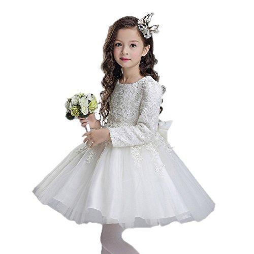 Teen Graduierung Kleid Blumen Perlen lange Ärmel Winter Geburtstag Hochzeit Alter (Graduierung Kostüm Kleid)