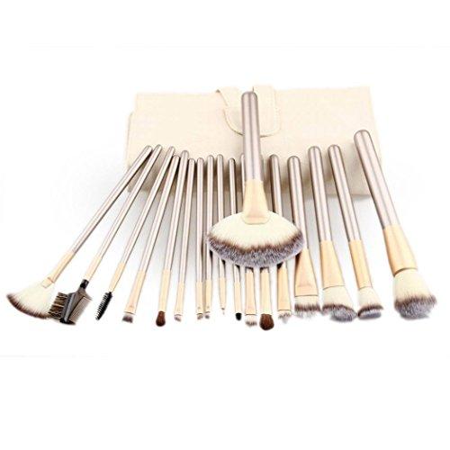 Honestyi Ensemble de pinceaux de maquillage 18pcs Outil cosmétique avec du cuir (blanc)